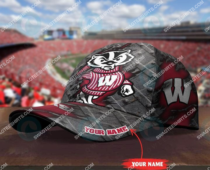 custom name wisconsin badgers football full printing cap 3(1)