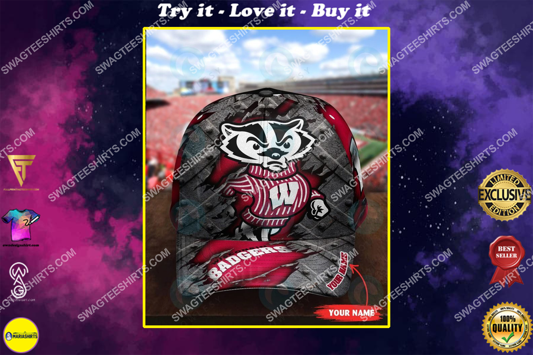 custom name wisconsin badgers football full printing cap