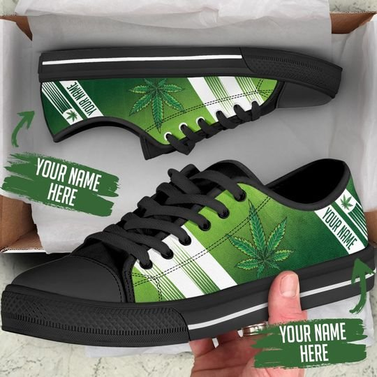 custom your name marijuana leaf full printing low top shoes 2