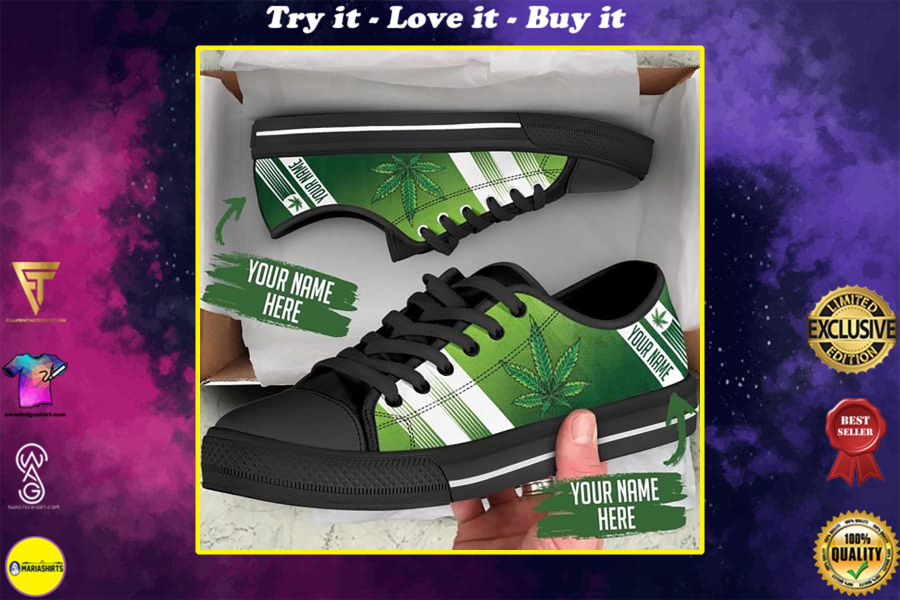 custom your name marijuana leaf full printing low top shoes