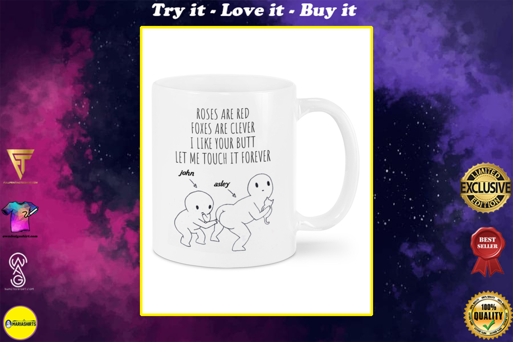 custom your name roses are red foxes are clever i like your butt let me touch it forever mug