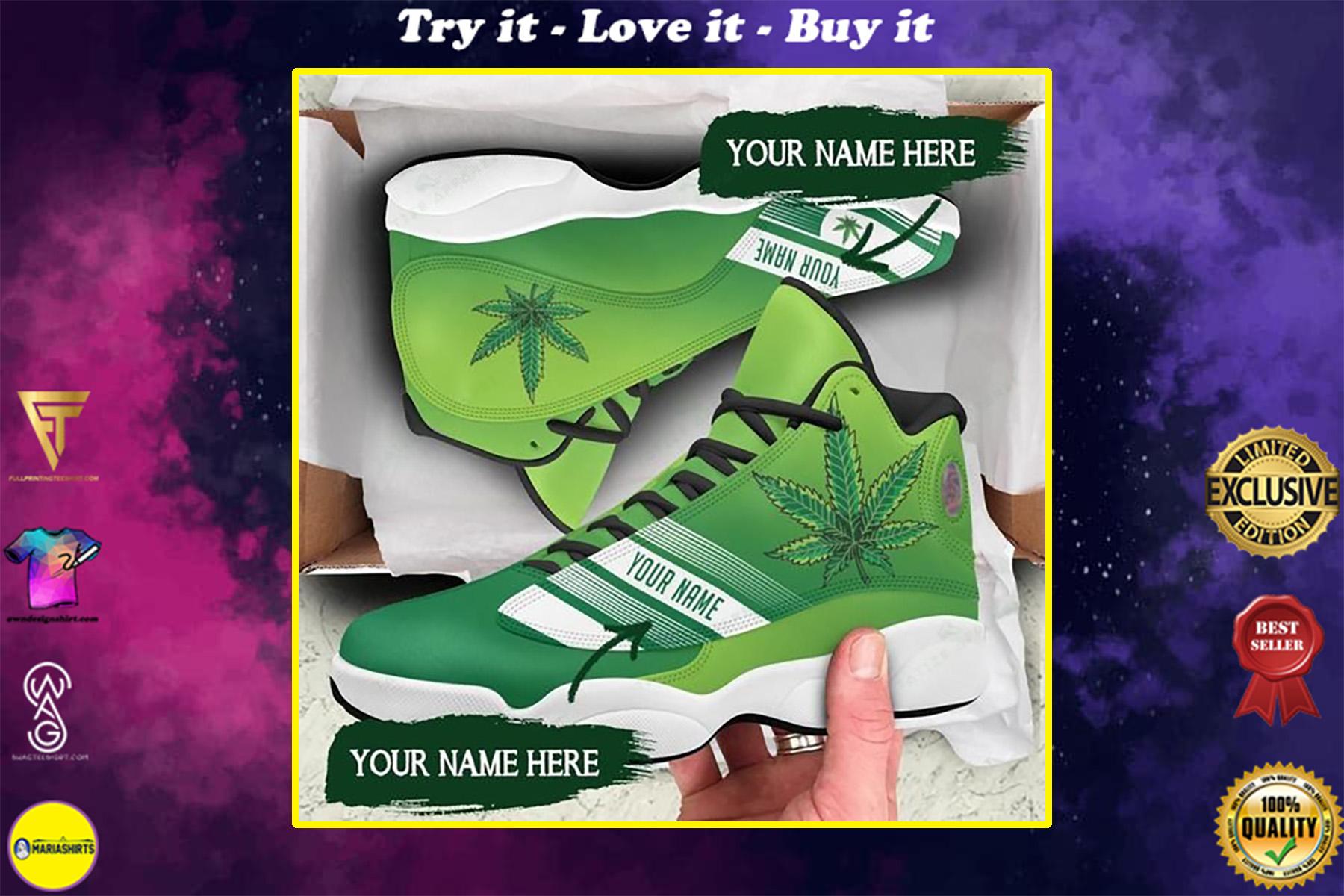 custom your name weed leaf all over printed air jordan 13 sneakers