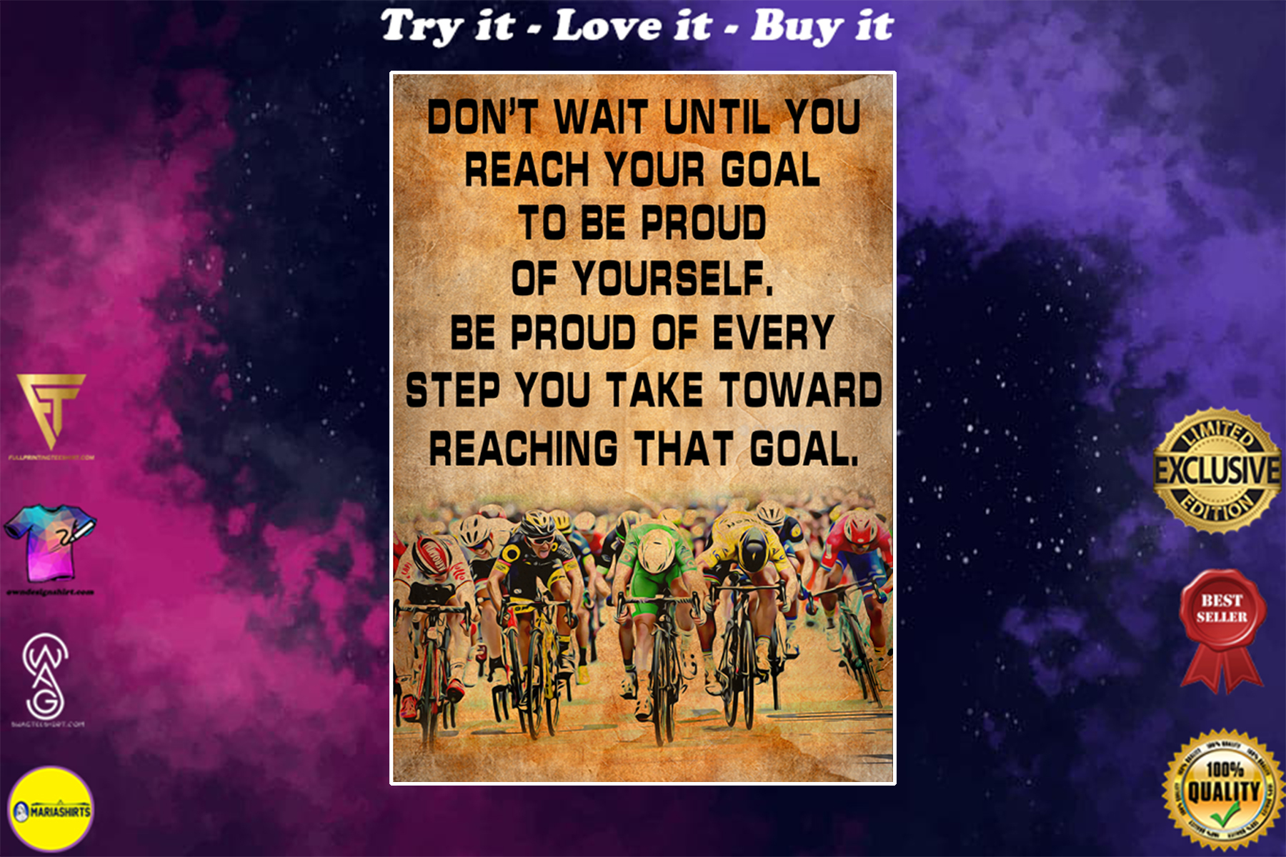cycling dont wait until you reach your goal cycling vintage poster