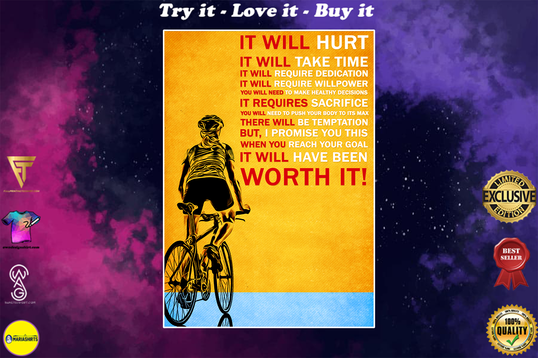 cycling it will hurt it will take time worth it poster