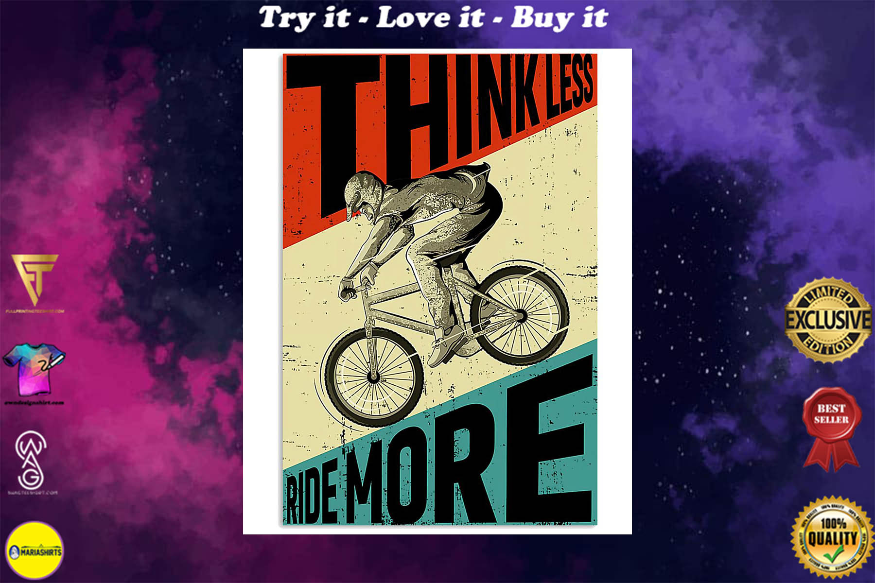 cycling ride think less ride more retro poster