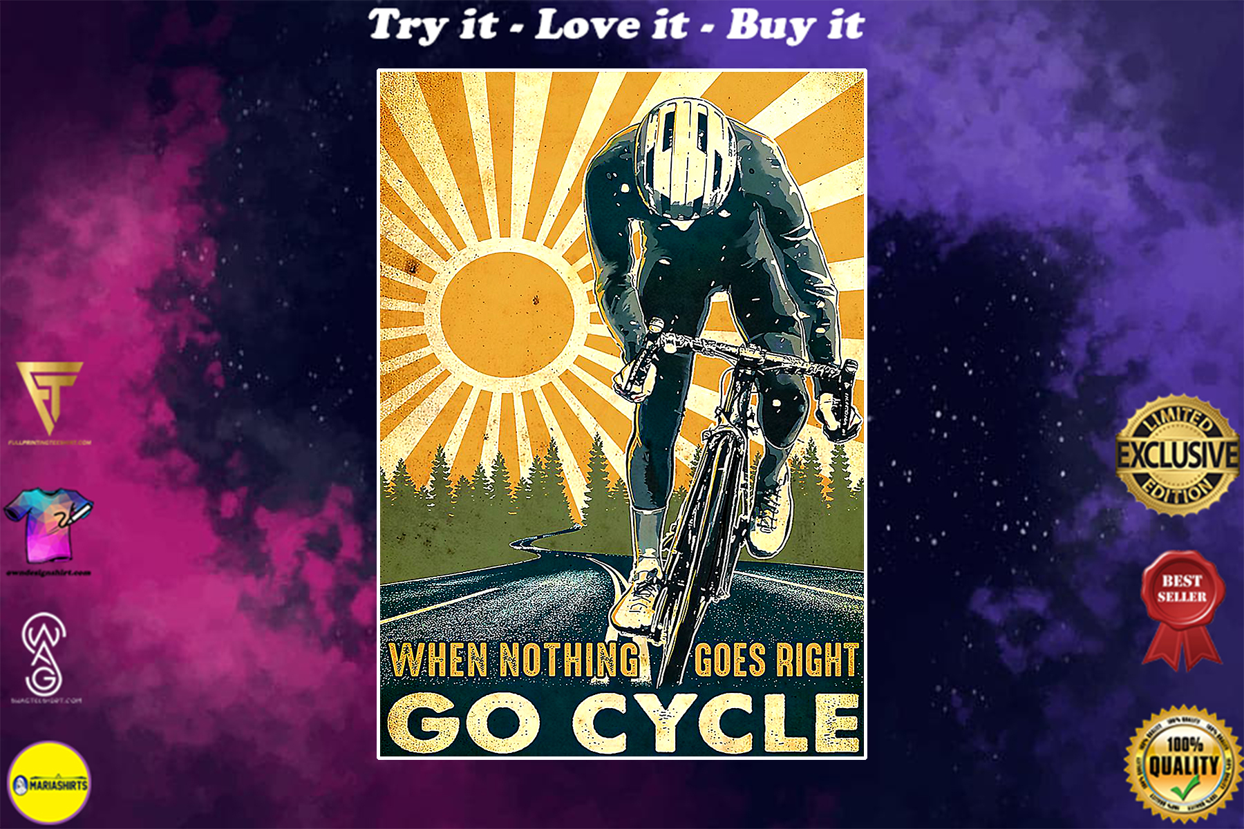 cycling when nothing goes right go cycle vintage poster