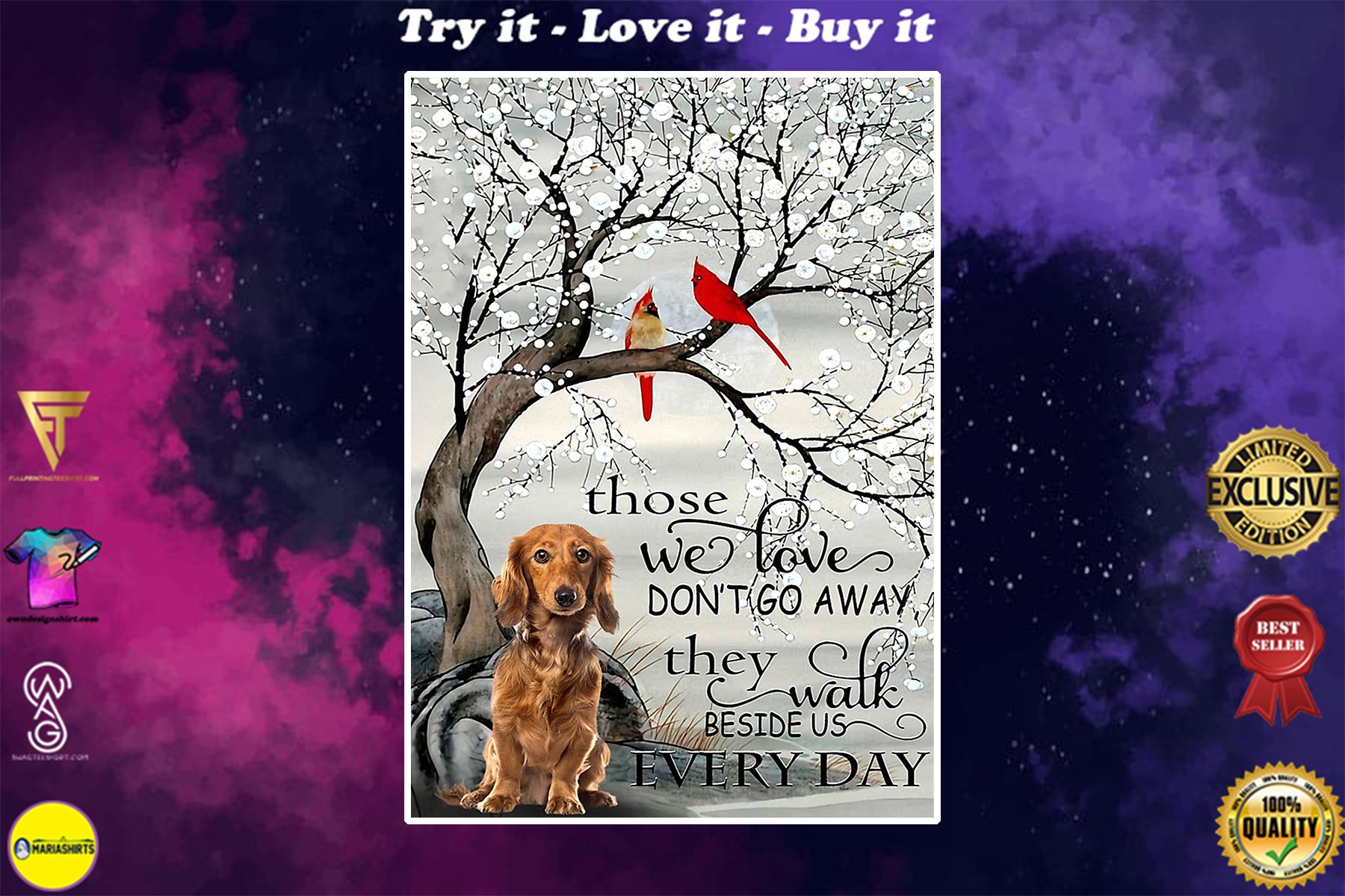 dachshund and cardinal they walk beside us every day poster