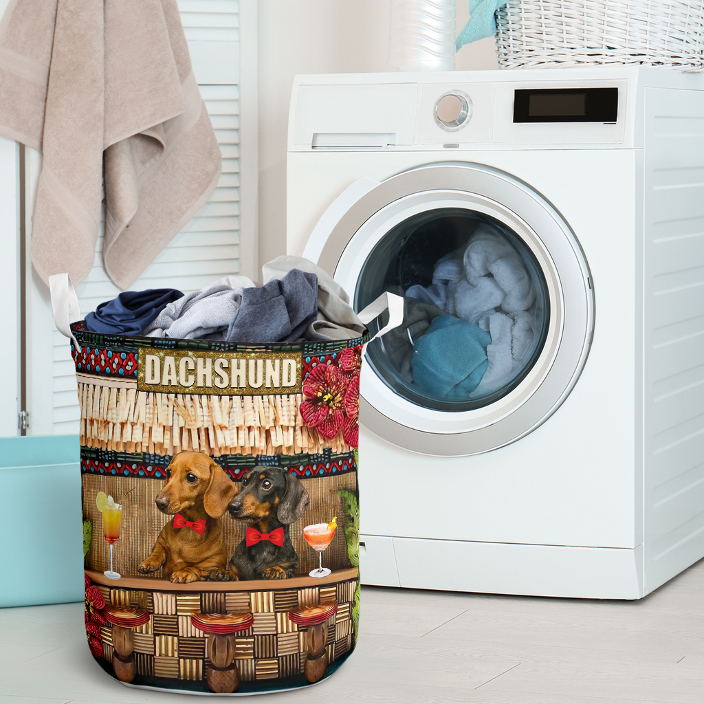 dachshund bar all over printed laundry basket 2