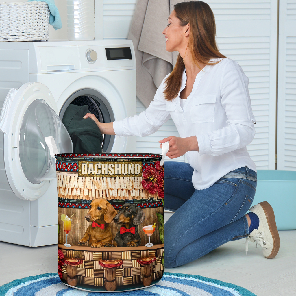 dachshund bar all over printed laundry basket 4