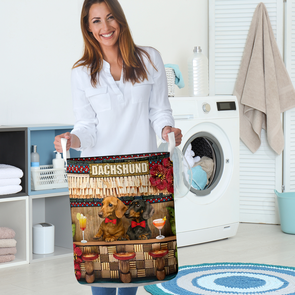 dachshund bar all over printed laundry basket 5