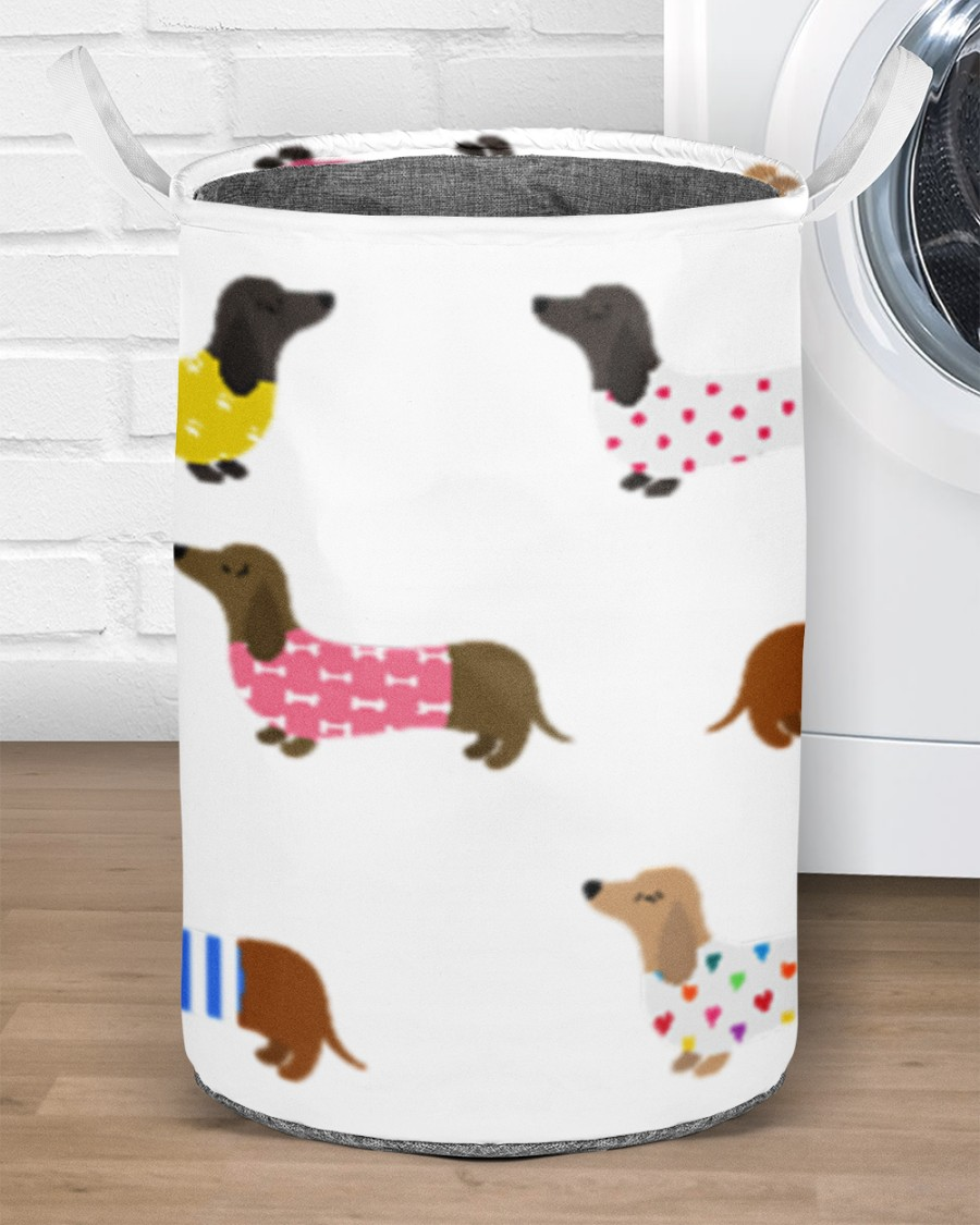 dachshund dog all over printed laundry basket 2