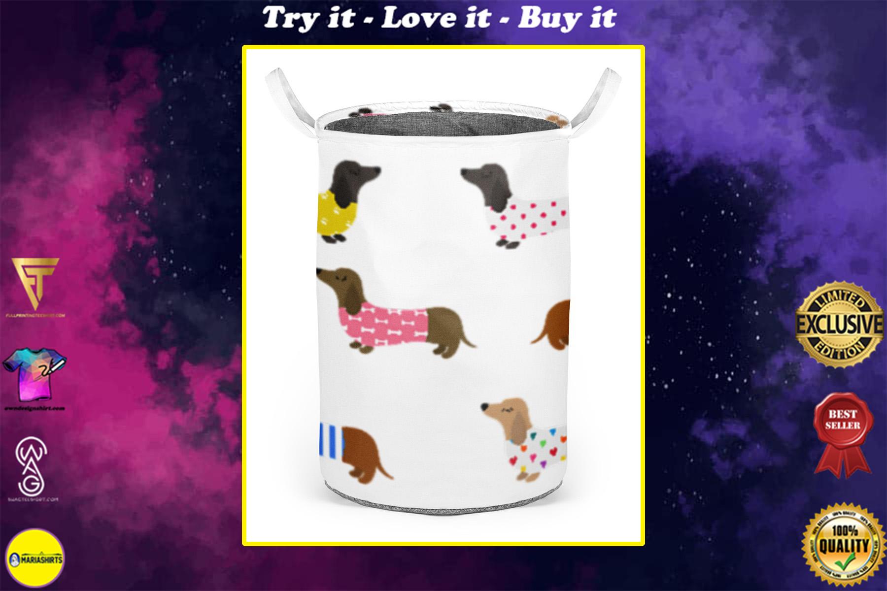 dachshund dog all over printed laundry basket
