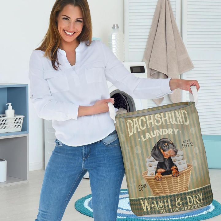 dachshund wash and dry all over print laundry basket 3