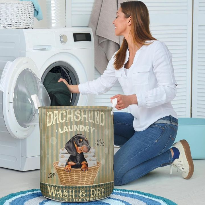 dachshund wash and dry all over print laundry basket 4