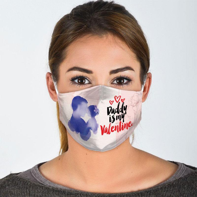 daddy is my valentine all over print face mask 2