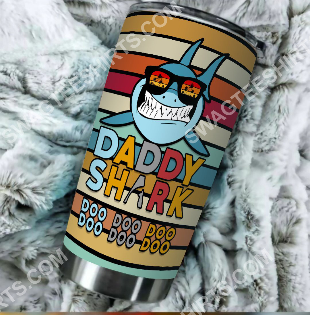 daddy shark colorful all over printed stainless steel tumbler 2(1)