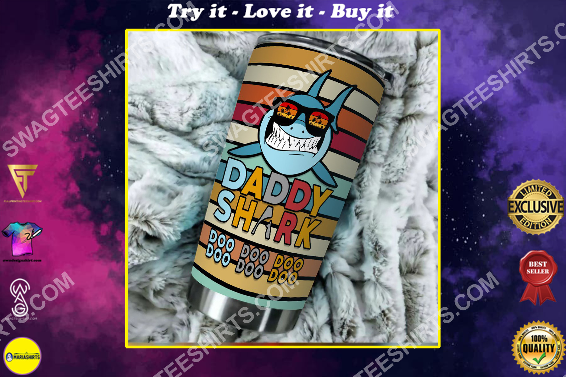 daddy shark colorful all over printed stainless steel tumbler