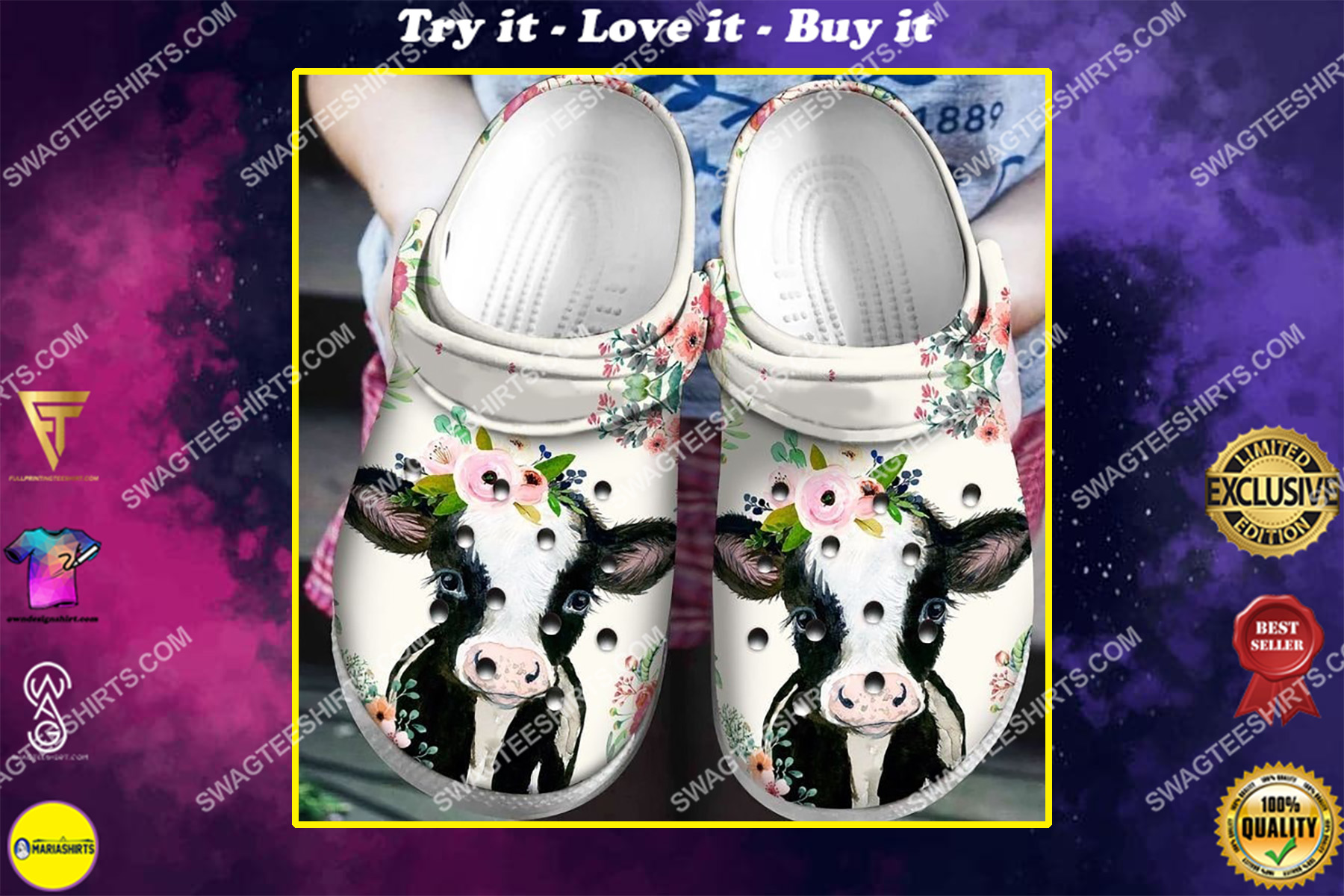 daisy cow and flower all over printed crocs