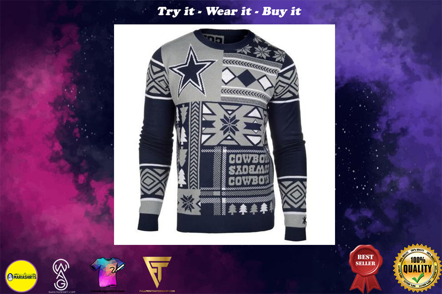 dallas cowboys patches ugly christmas sweater