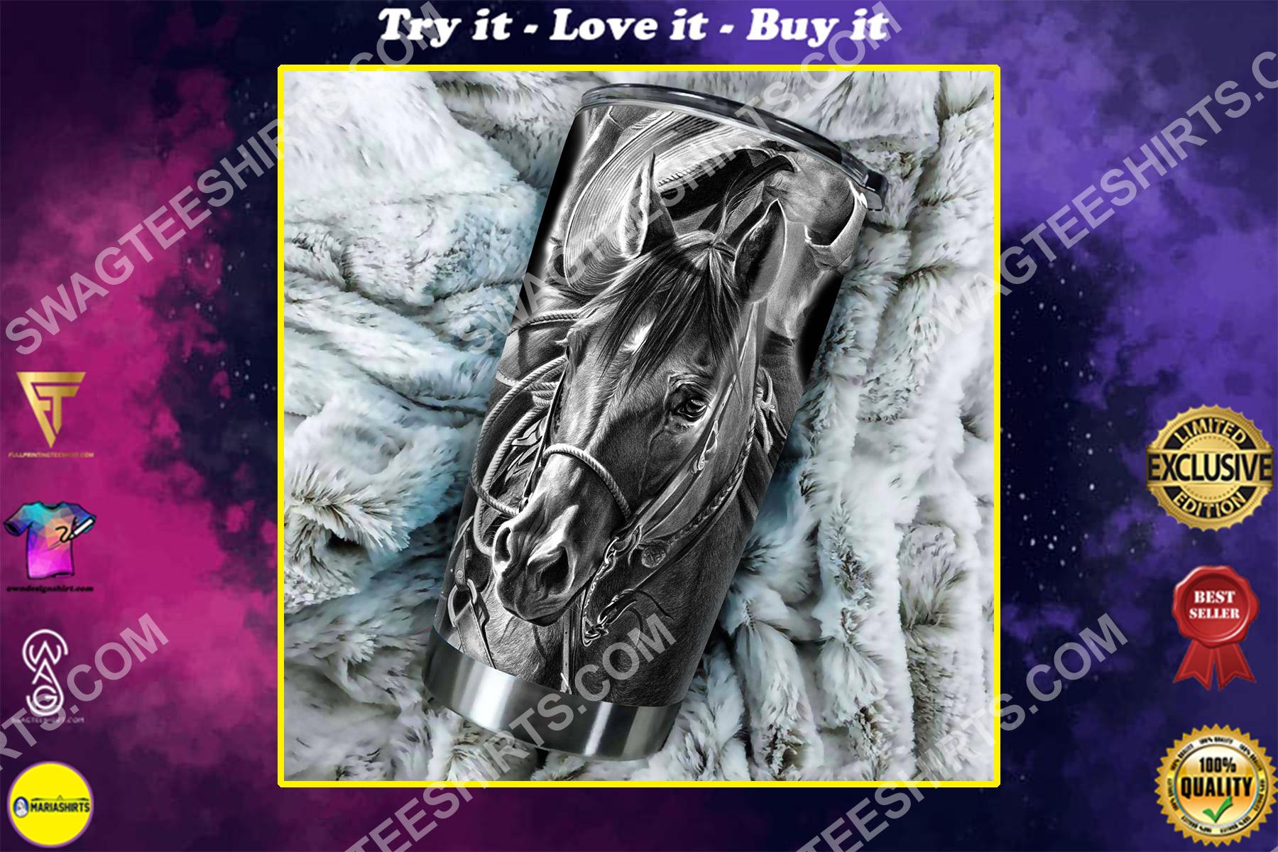 dark horse all over printed stainless steel tumbler