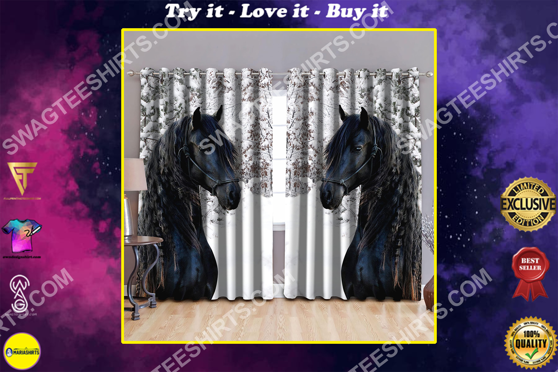dark horse all over printed window curtains