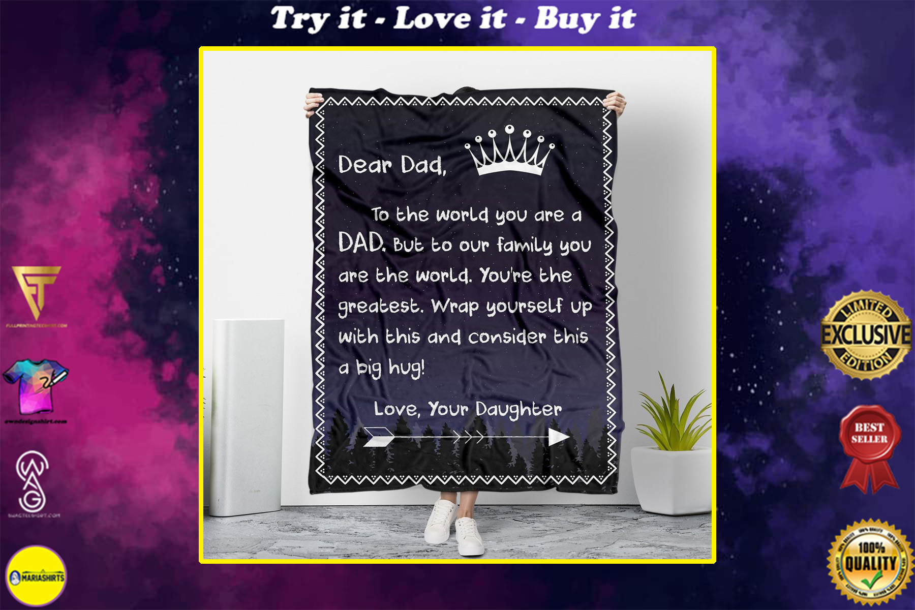 dear dad wrap yourself up with this love your daughter blanket