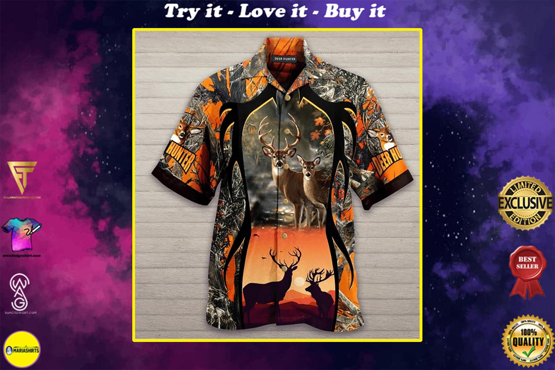 deer hunter all over printed hawaiian shirt