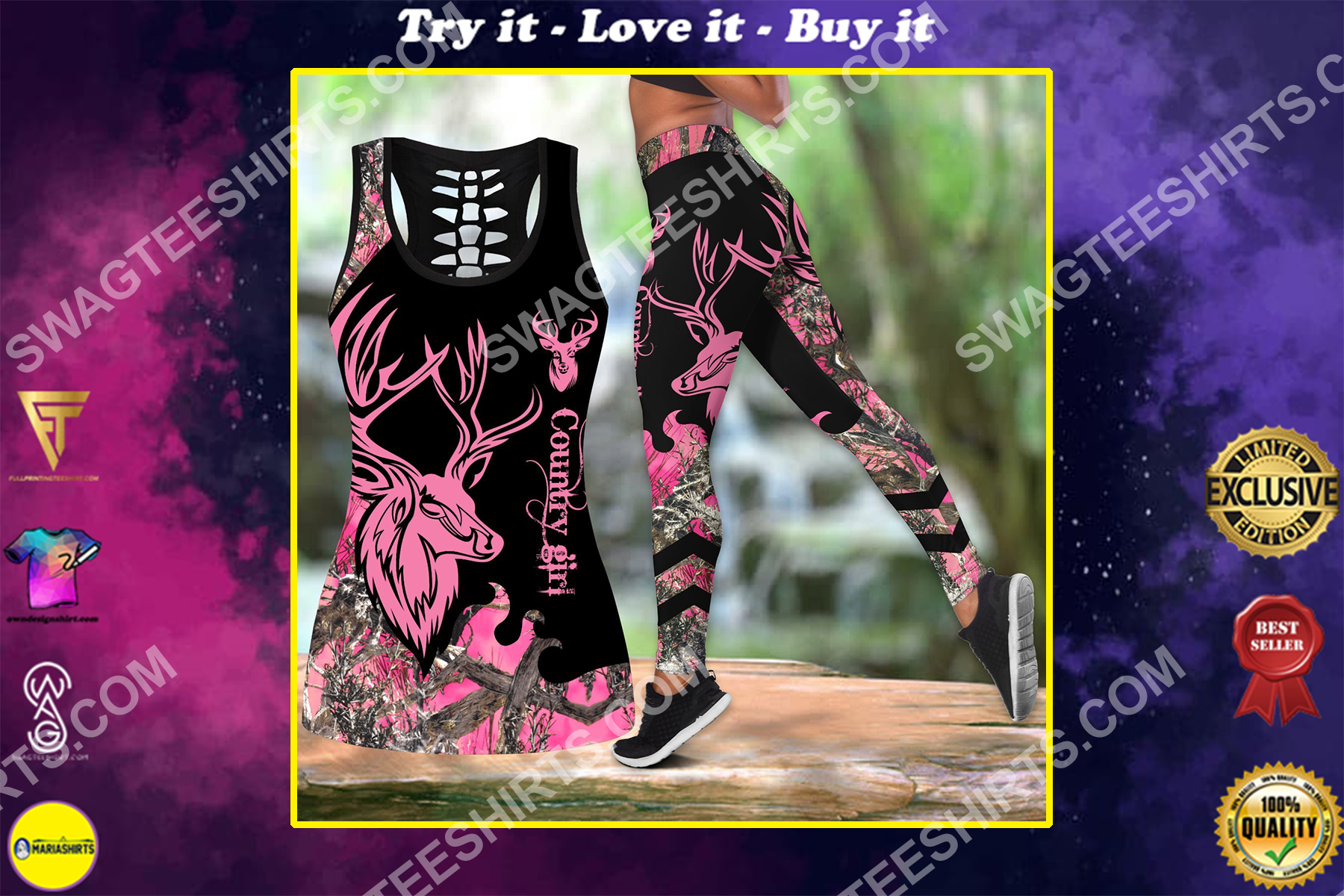 deer hunter country girl all over printed set sports outfit