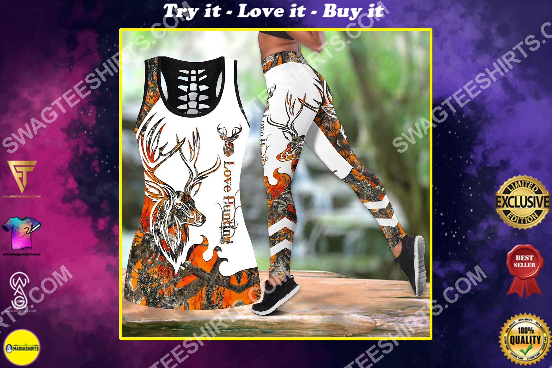 deer hunter love hunting all over printed set sports outfit