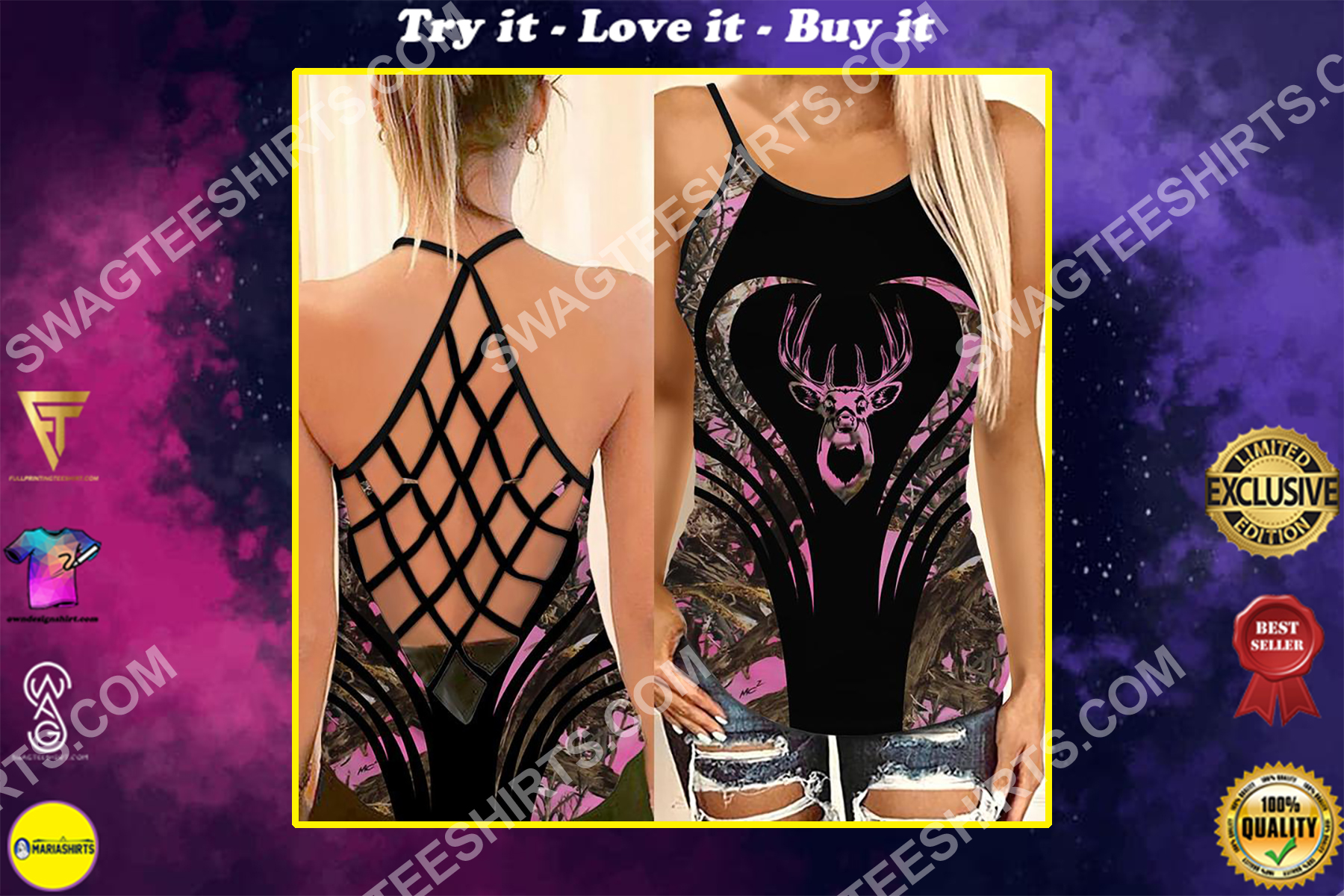 deer hunting camo all over printed strappy back tank top