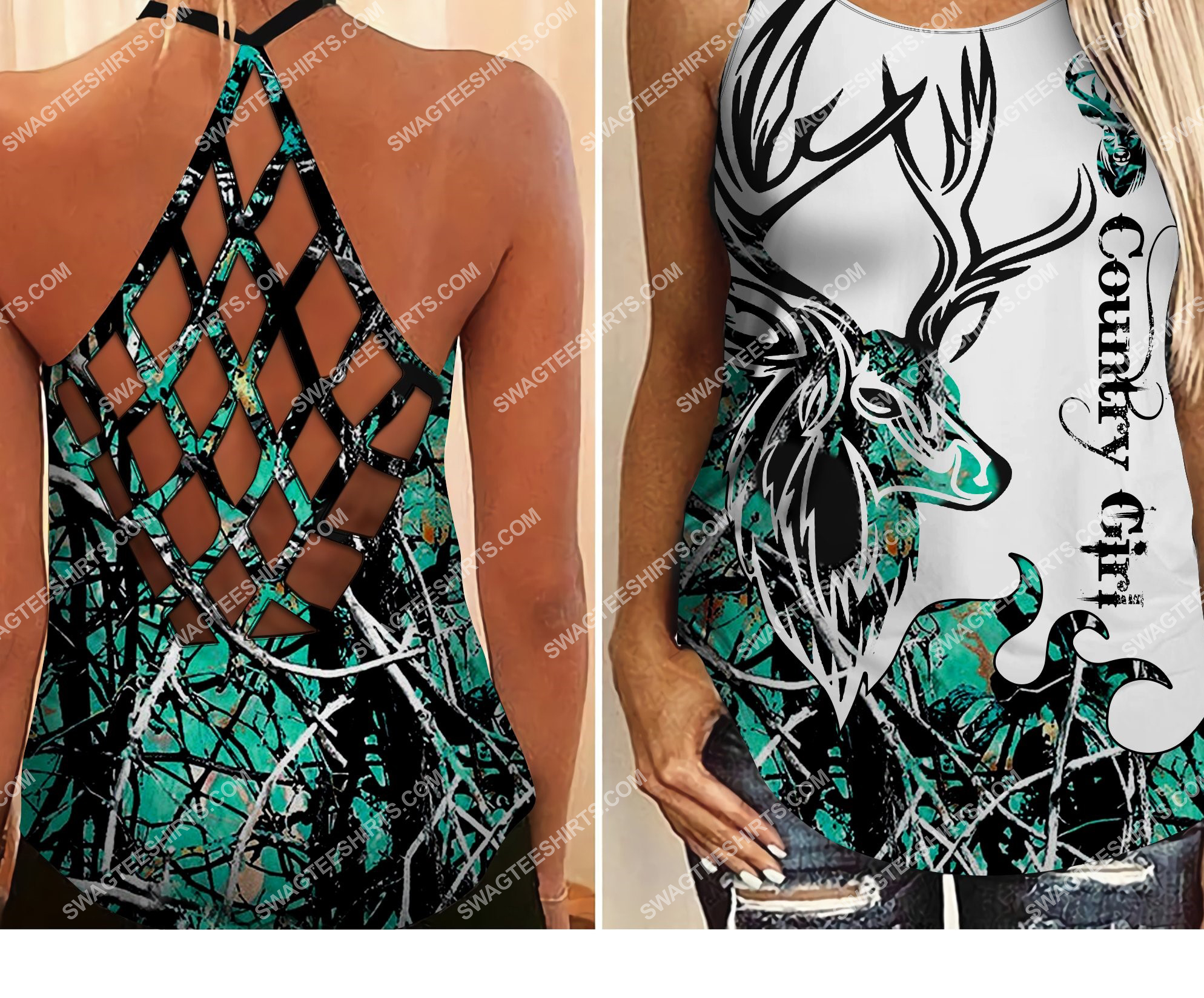 deer hunting country girl all over printed strappy back tank top 2 - Copy (2)
