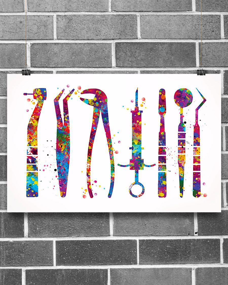 dentist tools watercolor vintage poster 2