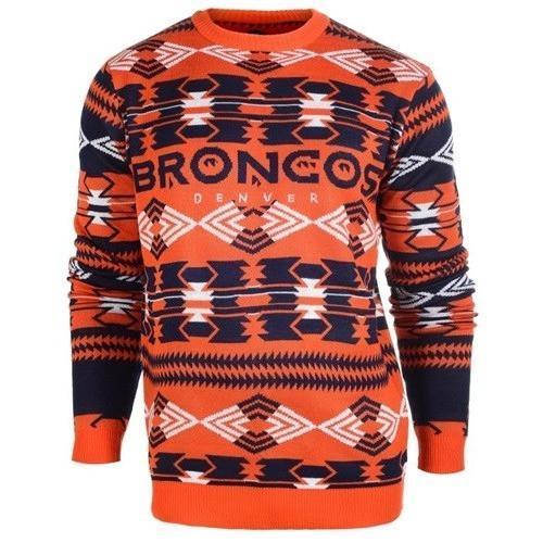 denver broncos aztec print ugly christmas sweater 1