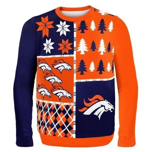 denver broncos busy block ugly christmas sweater 1