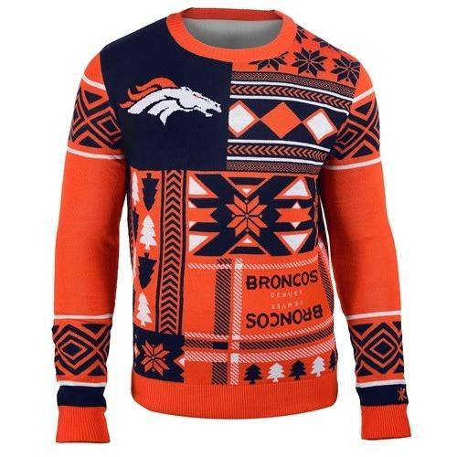 denver broncos patches ugly christmas sweater 1