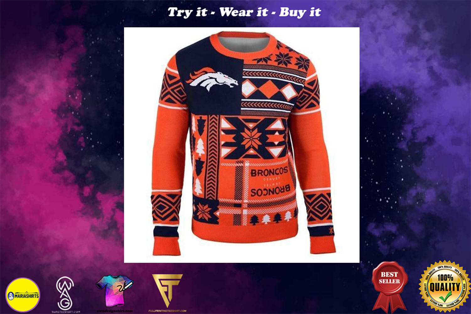 denver broncos patches ugly christmas sweater
