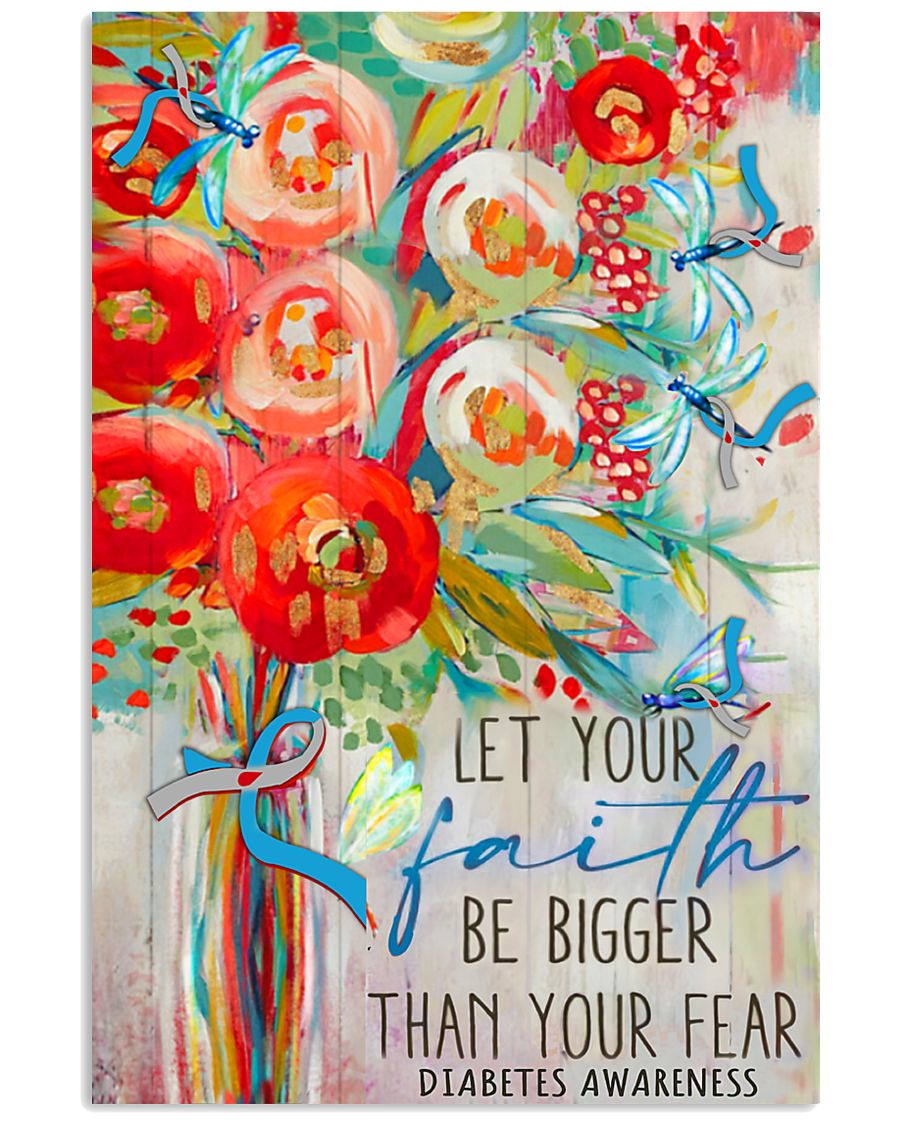 diabetes awareness let your faith be bigger than your fear watercolor poster 2