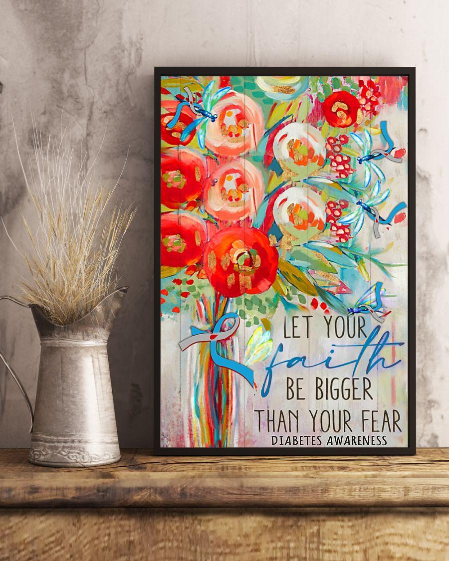 diabetes awareness let your faith be bigger than your fear watercolor poster 4