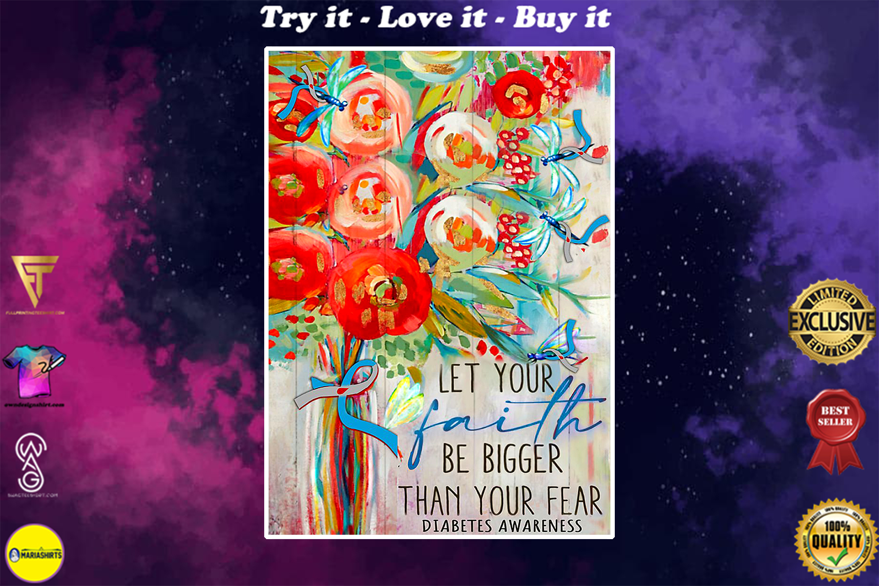 diabetes awareness let your faith be bigger than your fear watercolor poster