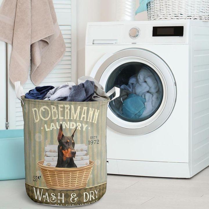 doberman dog all over printed laundry basket 2