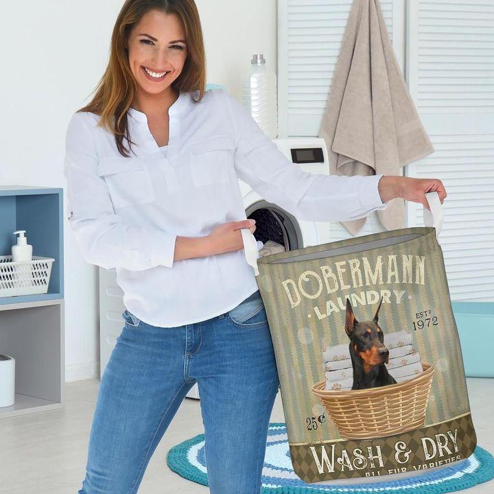 doberman dog all over printed laundry basket 3