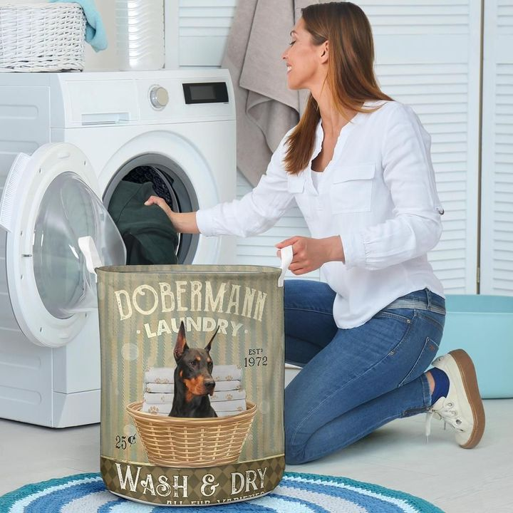 doberman dog all over printed laundry basket 4