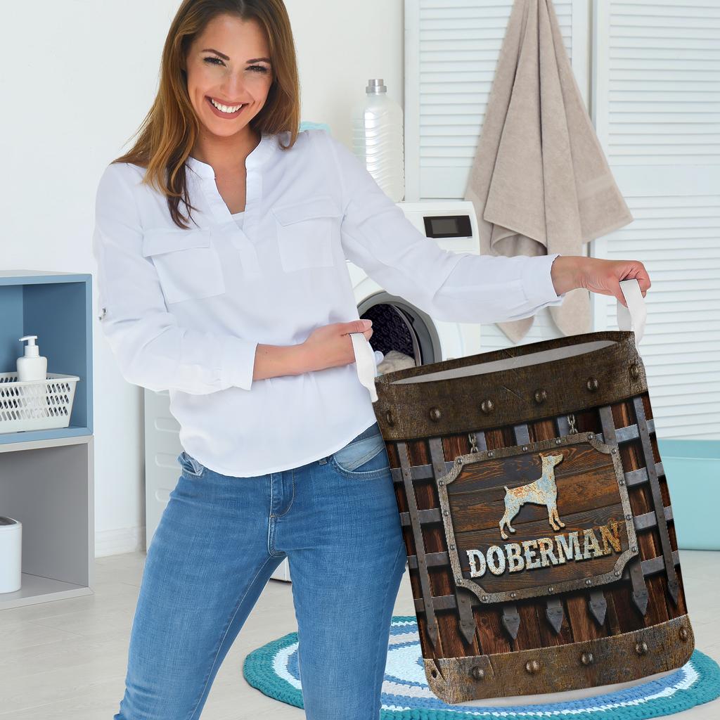 doberman dog lover all over print laundry basket 3