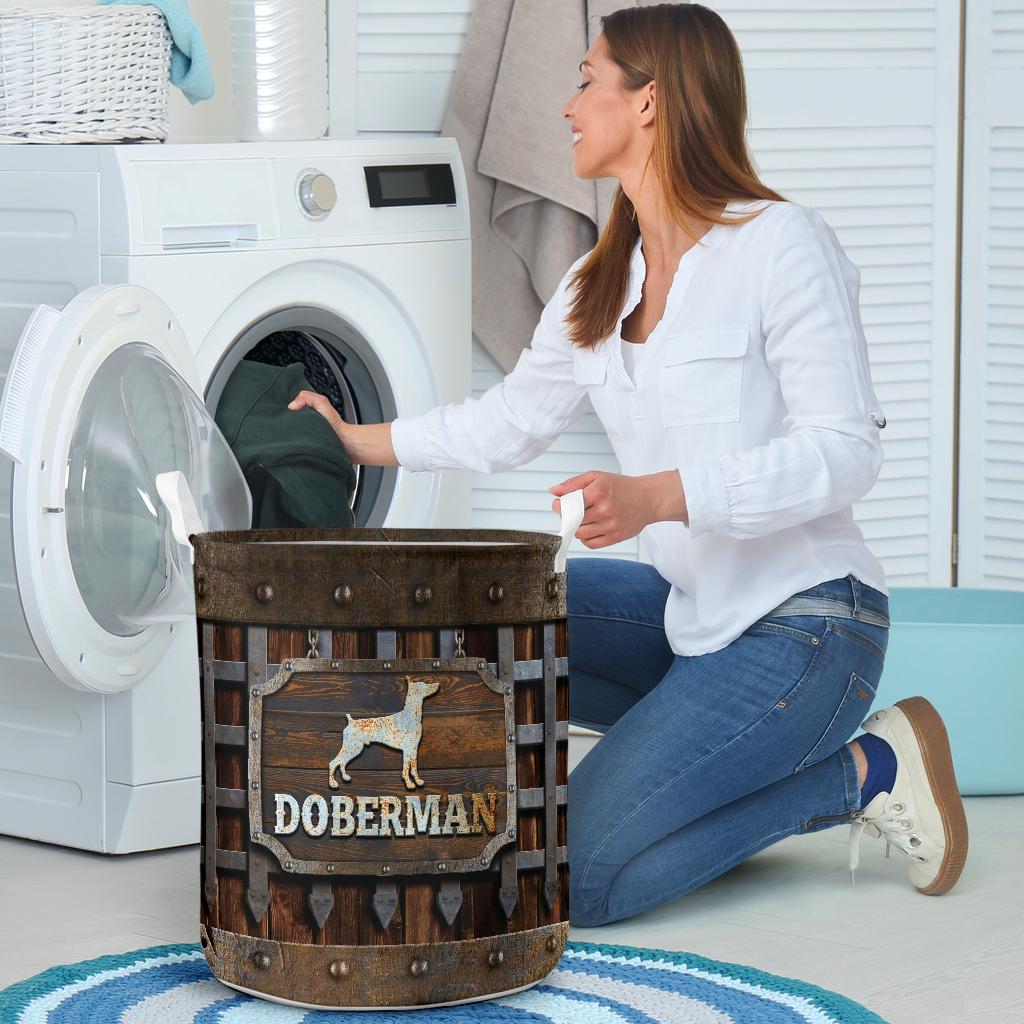 doberman dog lover all over print laundry basket 4