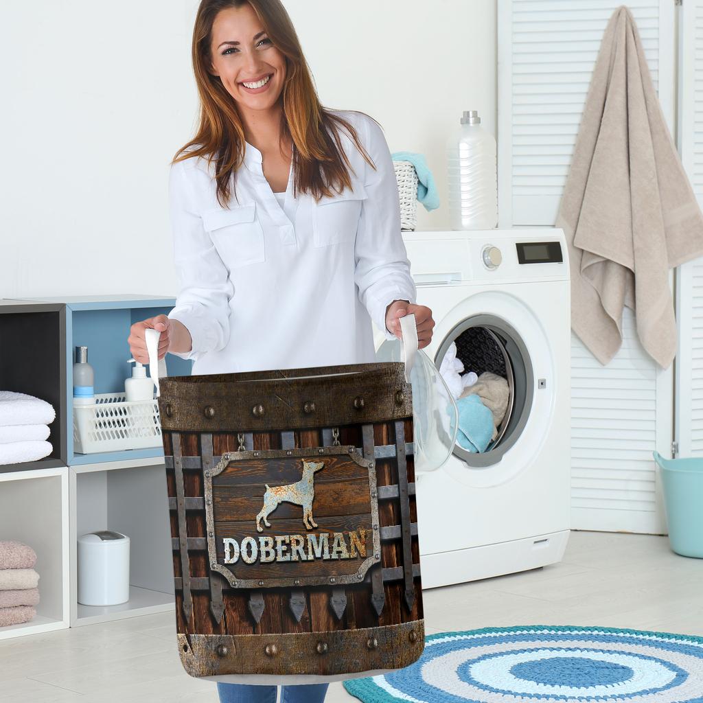 doberman dog lover all over print laundry basket 5