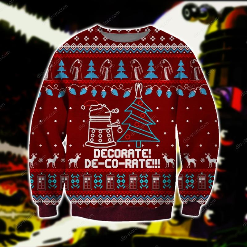 doctor who daleks all over printed ugly christmas sweater 2