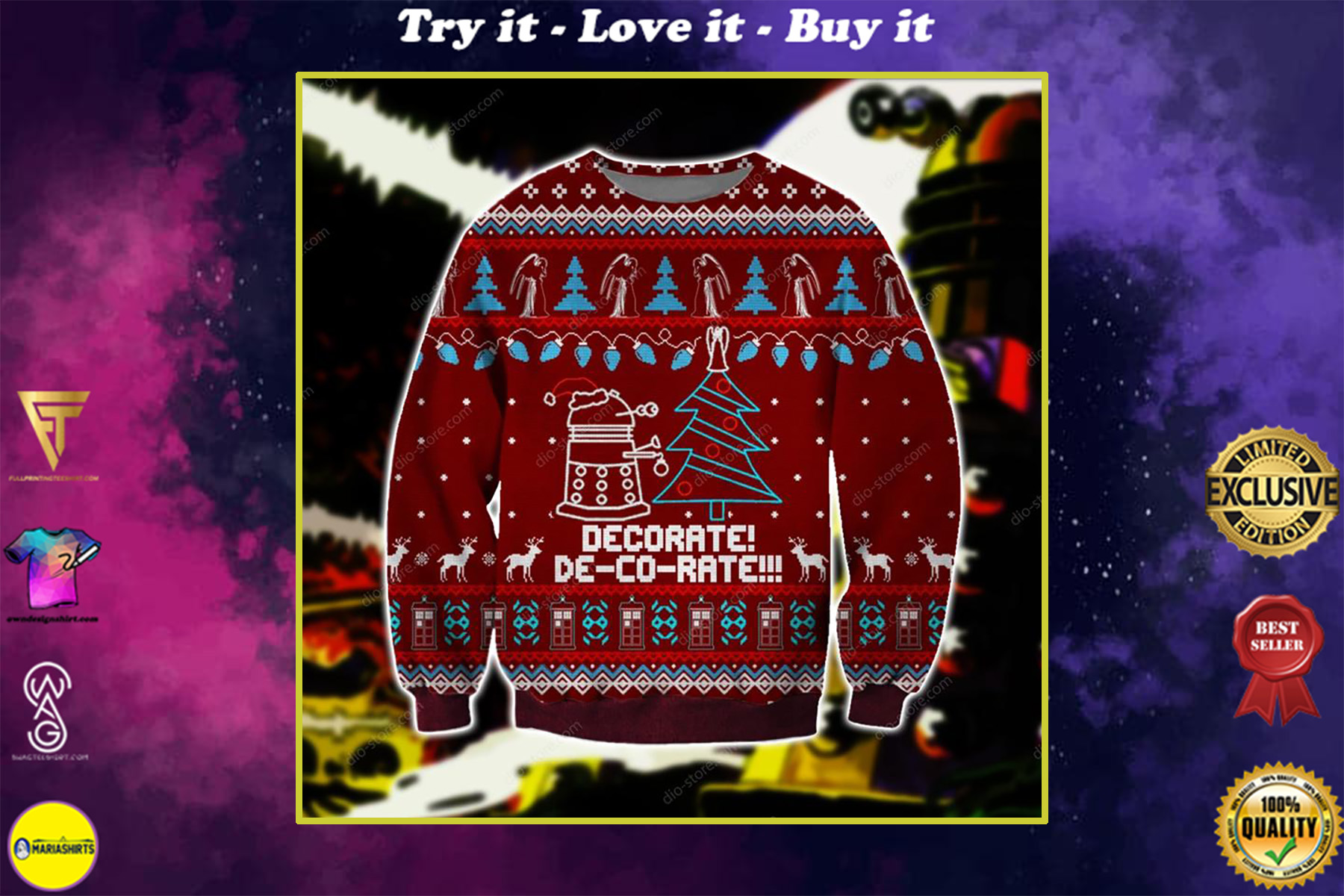 doctor who daleks all over printed ugly christmas sweater