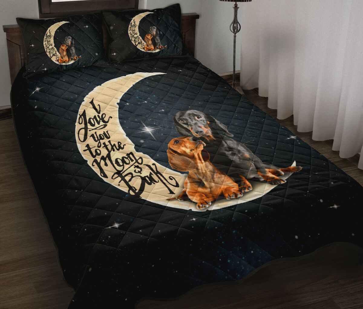 dog lover i love you to the moon and back full over print quilt 2