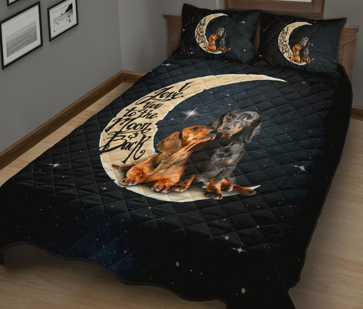 dog lover i love you to the moon and back full over print quilt 4