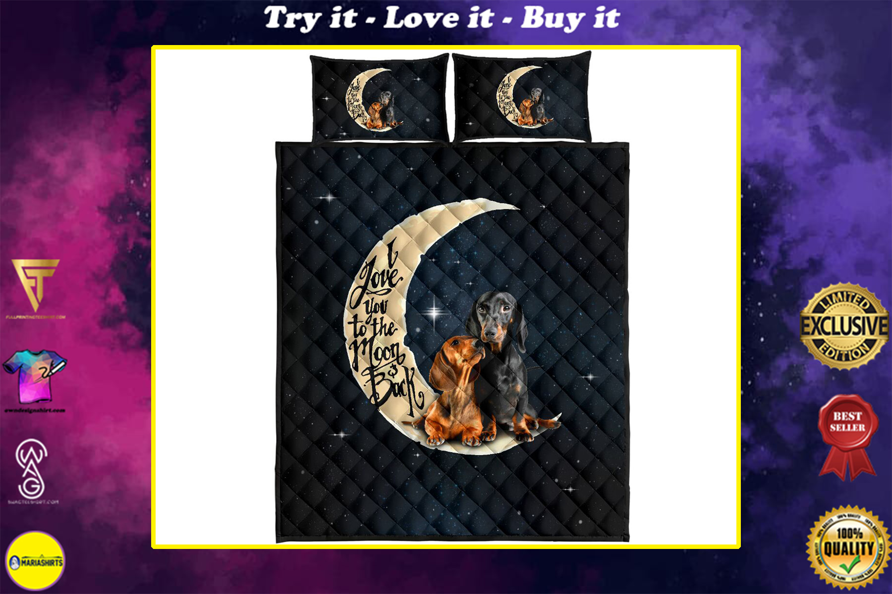 dog lover i love you to the moon and back full over print quilt